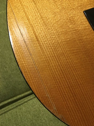 Repaired Crack in Spruce Guitar Top